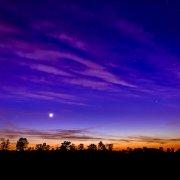 An orange, purple and blue sky above nature reserve De Teut in Zonhoven, Belgium during dusk