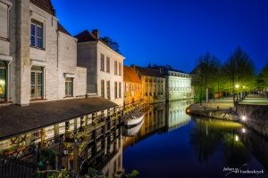 A night view over the Dijver in Bruges, Belgium