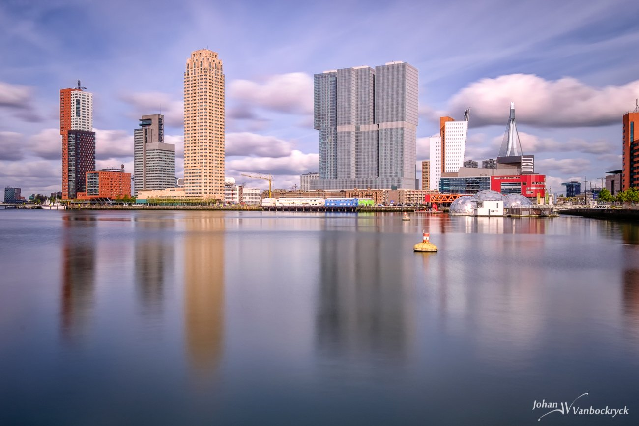 A view of the Wilhelminakade in Rotterdam, the Netherlands as seen from the Rijnhaven