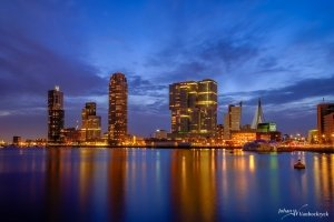 A night view of the Wilhelminakade in Rotterdam, the Netherlands as seen from the Rijnhaven