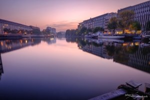A view of the Spree in Berlin, Germany just before sunrise