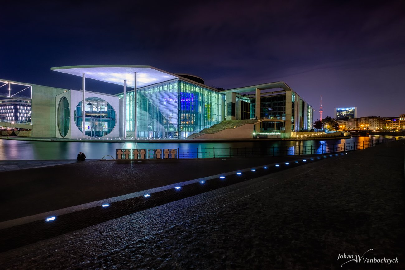 The Marie-Elisabeth-Lüders House in Berlin, Germany during the night as seen from the other side of the Spree