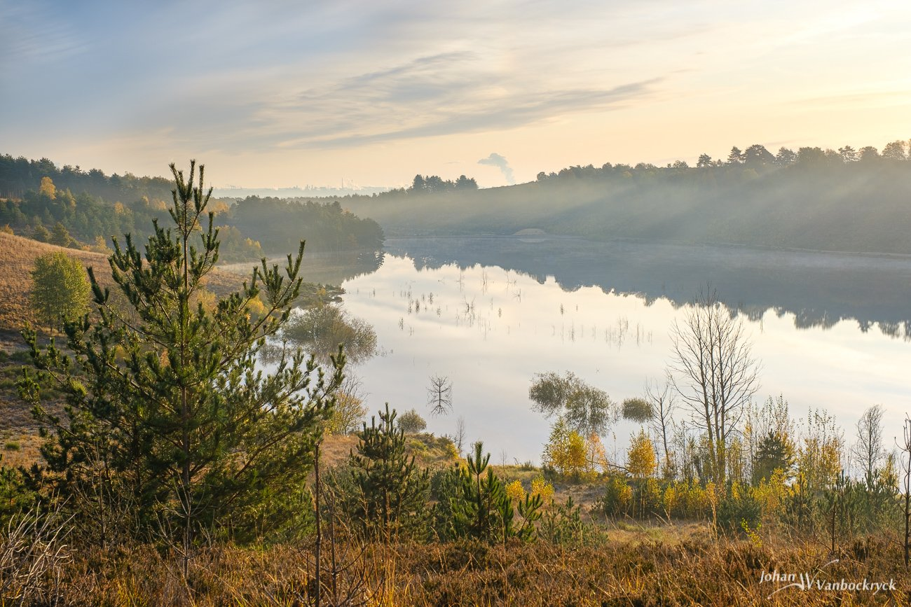 A view over the pond in nature reserve Mechelse Heide in Maasmechelen, Belgium with a haze created by the sunrays in the air