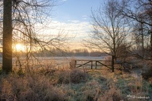 A wooden gate at the edge of a frozen field during sunrise in Wellen, Belgium