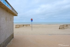 The beach of Koksijde, Belgium near the Ster der Zee public restroom